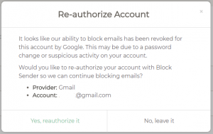 How to Reconnect your Gmail Account with Block Sender | Block Sender